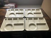 Lot Of 4 Vintage Continental Silite 614 Compartment Cafeteria Trays High Quality