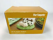 Pier 1 Import Salt Pepper Shaker Set 3 Piece Country Farm Display Stand Cow Pig