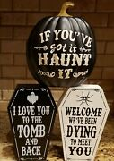 Halloween Decorations Wood Coffin Signs And Poly Resin Pumpkin Home Office Decor