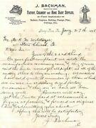 Jacob Bachman Dairy Farm Tools Stony Run Pa Antique Autograph Signed Letter 1898
