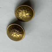 2 Antique French Metal Sewing Buttons Abstract Flowers Vase Vintage Markings