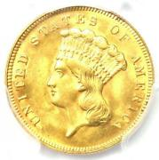 1878 Three Dollar Indian Gold Coin 3 - Pcgs Uncirculated Details Unc Ms