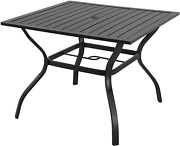 Outdoor Patio Bistro Metal Dining Table Umbrella Hole 37x37 Black Dining Table