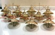 Nautical Marine Solid Brass Ceiling Pendant Ship Cargo Light With Shade Lot 10