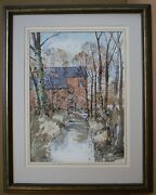 Coley Mill Farm Gnosall. Watercolour By Listed Artist George Henry Lakin 1988