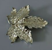 Sycamore Leaf Brooch Silver Tone Statement Big Costume 3d Jewellery Lapel Pin