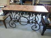 Antique French Iron/marble Bakers Table