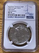 2020 W Burnished High Relief Palladium Eagle Ngc Ms70 Early Releases In Stock
