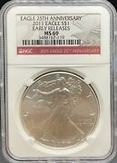 2011 Silver Eagle Ms69 Ngc Early Release 25th Anniversary Pa3488167119