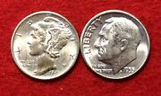 [lot Of 2] Xf To Bu Roosevelt And Mercury Dimes 90 Silver 1916 - 1964