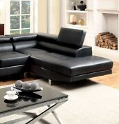 Living Room Chaise Black Sectional Bonded Leather Couch Adjustable Headrest