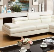 Living Room Chaise White 2pc Sectional Bonded Leather Couch Adjustable Headrest