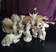 Vintage Hand Painted Holland Mold Ceramic Nativity 17pc White Mother Of Pearl