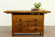 Farmhouse Maple Workbench Wine And Cheese Table Or Kitchen Island Counter 36718