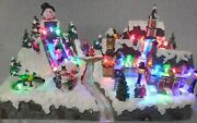 Puleo Animated Amusement Park Resin Village With Led Lights Action Decor W097
