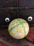 Wonderful Antique Yellow And Green Stripe Carpet Ball-3 1/2andrdquo