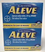 2 Bottles 270 Caplets Each=540 Aleve 220mg Pain Reliever Fever Reducer Exp 08/23