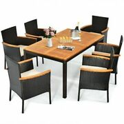 7 Pieces Patio Rattan Dining Set With Armrest Cushioned Chair And Wooden Tablet