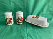 Mccoy Strawberry Fields Country Salt And Pepper Shaker / Butter Dish Tray