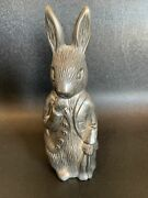Godinger Warne And Co Silver Plated Vtg Peter Rabbit Coin Bank Bunny Book Figure