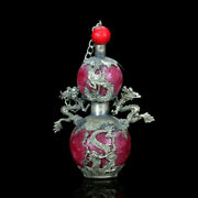 Chinese Antique Old Jade Armor Tibet Silver Hand Carved Dragon Snuff Bottlec