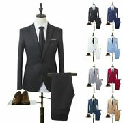 Men Dress Suit Two Piece Coat Tops Trousers Wedding Formal Party Business Outfit