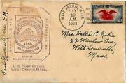 Paul Revere Robie West Dennis Ma Postmaster Autographed Clipper Ship Mail Cover