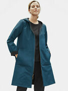 Eileen Fisher New Size L Storm Teal Blue Organic Cotton Nylon Jacket