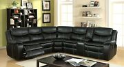 Living Room Black Leatherette Motion Recliner Sectional Console Wood Plush Couch