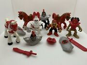 Fisher Price Imaginext 2005 Castle Figures Knights Horses Swords Shields Htf