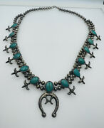 Antique Old Pawn Navajo Sterling Silver Turquoise Squash Blossom Necklace