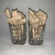 2 Crown Royal Whiskey Shot Glass Square Rounded 2-1/2 Inches Tall