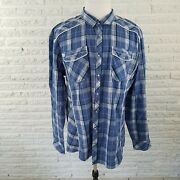 Bke Athletic Fit Mens Shirt Size Xxl Western Plaid Full Snap Front Casual