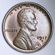 1917-d Lincoln Wheat Cent Penny Choice Bu Uncirculated Ms Free P/h E144 Jlr