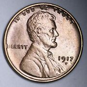 1917-d Lincoln Wheat Cent Penny Choice Unc Uncirculated Ms Free P/h E145jem