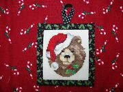 Finished Completed Woodland Christmas Santa Brown Bear Cross Stitch Ornament