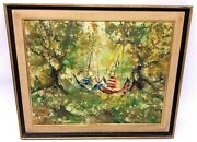 Abstract Green Tree Hammock Forest Impressionist Artwork Oil Painting Art Board