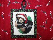 Finished Completed Woodland Christmas Santa Black Bear Cross Stitch Ornament