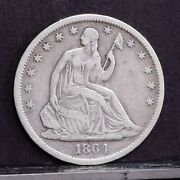 1864-s Liberty Seated Half Dollar - Xf Details 38722