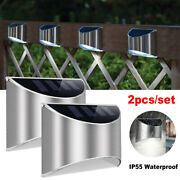 1pair Outdoor Solar Deck Lights Path Garden Patio Pathway Stairs Step Fence Lamp