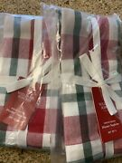 Williams Sonoma Holiday Winter Plaid Dinner Napkins Red Green White Christmas 8