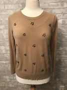 Merona Xl Tan Sweater Jeweled Embellished Long Sleeve Pullover Stretch Top