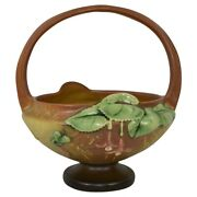 Roseville Pottery Fuchsia 1938 Brown Basket With Attached Flower Frog 350-8