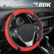Griptech Sport Red Auto Steering Wheel Cover 14.5 15 15.5 Inch Accessories