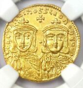 Constantine V And Leo Iv Av Solidus Gold Coin 750-775 Ad. Certified Ngc Ms Unc