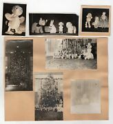 Antique Dolls And Stuffed Animals Under The Christmas Tree 1930s Snapshot Photos