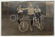 Augsburg Germany Carnival Trick Cyclists On Bicycles Antique Rppc Real Photo Pos