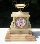 Antique Marble Pink Enamel Face Ornate Luxury Mantle Clock Not Working No Key