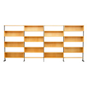 Large Bookcase Free Standing Shelf Oak And Metal Germany 1960s 60er Regal
