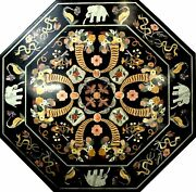 3and039 Black Inlay Marble Center Coffee Table Top Antique Pietra Dura Elephant H4
